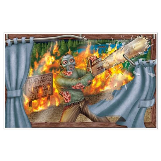Man met kettingzaag muurversiering 96 x 157 cm   Oktoberfest Deur  u0026 wand posters   Oktoberfest