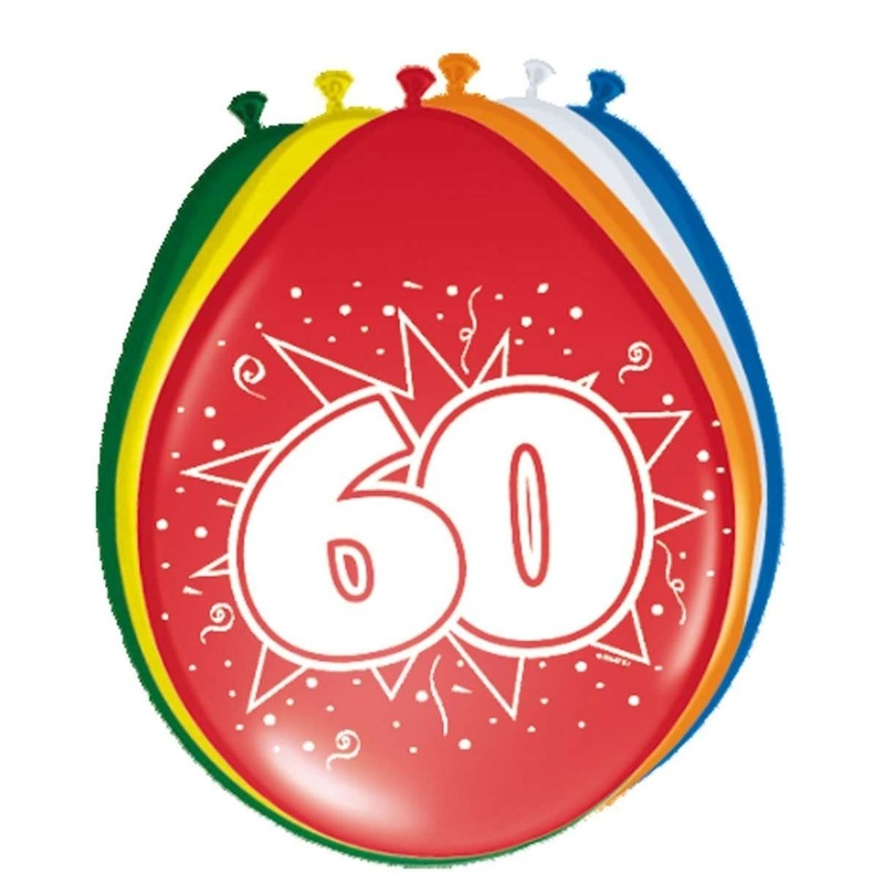 Gekleurde ballonnen versiering 60 jaar 8x stuks