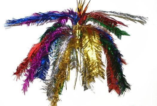 Glitter decoratie hanger gekleurd 60 cm