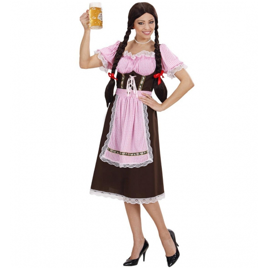 Lange tiroler kostuum dames bruin