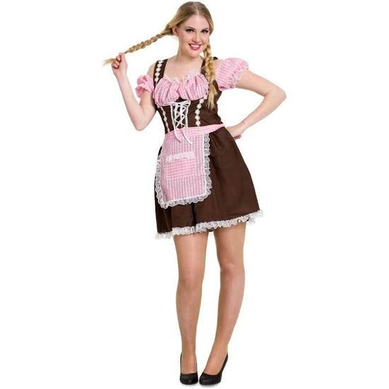 Oktoberfest jurkje bruin met roze voor dames