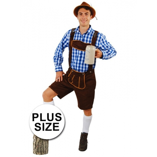 Plus size verkleed lederhose donkerbruin Andreas