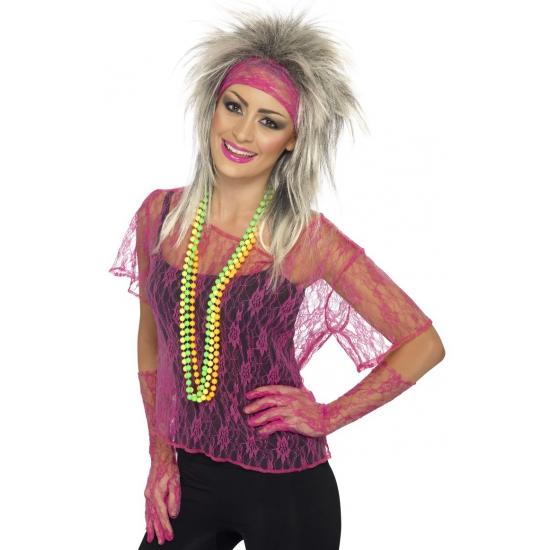 Fabulous Jaren 80 roze kanten shirt dames | Oktoberfest Jaren 90 kleding  &VT49
