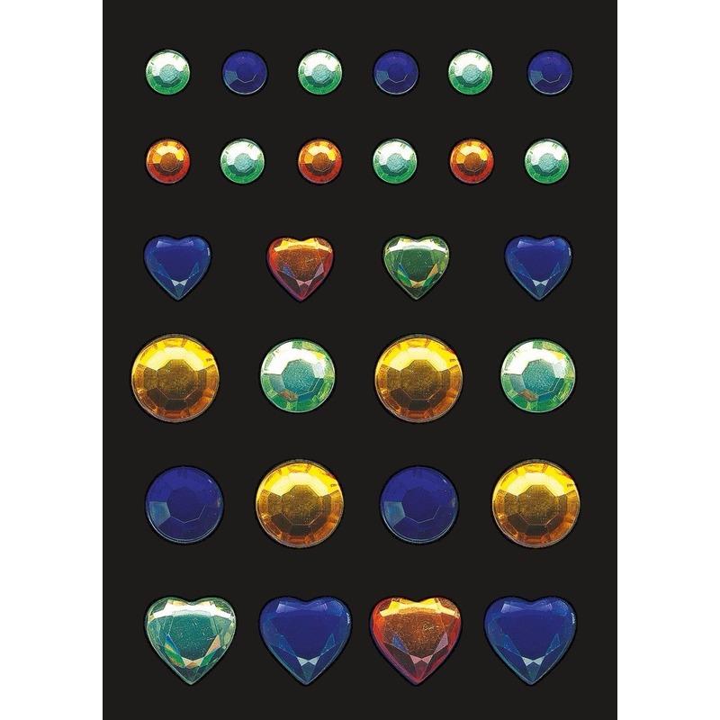 Versier stickers blauwe, gele en groene strass