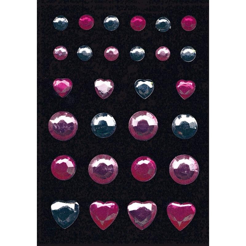 Versier stickers roze en zilver strass